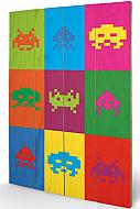 Space Invaders Póster madera Pop Art 40 x 60 cm
